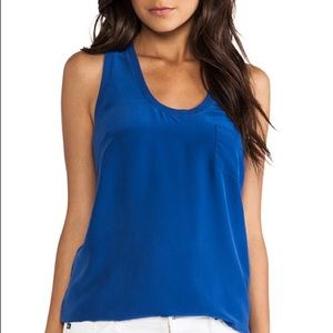 Joie 100% silk tank cobalt blue with small mark!